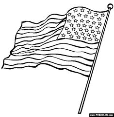 Printable American flag coloring page Free PDF download at http