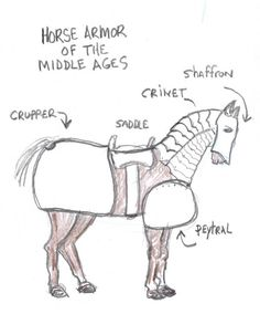 The armor of the medieval horse. This is the armor a mounted knight would often put on his horse before going into battle. Includes an illustration showing the major armor on the horse. Medieval Horse, Medieval Life, Medieval Armor, Middle Ages History, Renaissance And Reformation, Tapestry Of Grace, Medieval Crafts, Ancient History, European History