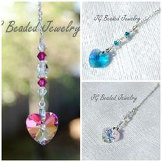 Crystal Heart Rearview Mirror Car Charm Clear Blue or Pink Heart on Etsy, $10.00