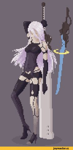 NieR Automata,Nier (series),Игры,2A(YoRHa),Pixel Gif,Pixel Art,Пиксель Арт, Пиксель-Арт