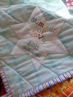 "love the different colors for each letter. but i prefer the quilter's name instead of ""selfsewn."""