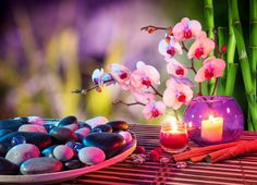 A pleasant life- to attract this energy is a pretty glass bowl containing a purple amethyst, a red carnelian and a green piece of jade.