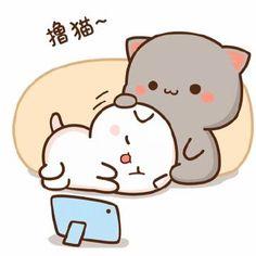 Cute Cartoon Drawings, Cute Couple Cartoon, Cute Cartoon Pictures, Cute Love Pictures, Cute Love Gif, Cute Images, Chibi Cat, Cute Chibi, Cute Boyfriend Gifts