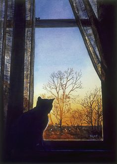 Robert Tracy (b.1948)  —  Cat  at the Window,1987 (641x900)