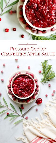 Naturally sweetened, quick and easy, this Pressure Cooker Cranberry Apple Sauce will play a star role at any holiday meal.