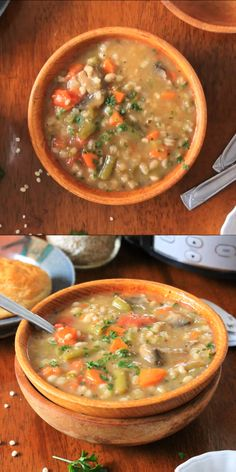 Feb 2020 - Slow Cooker Vegetable Barley Soup is healthy and nutritious, yet hearty and comforting, made with lots of veggies, mushrooms, and pearl barley. Healthy Soup Recipes, Easy Dinner Recipes, Beef Recipes, Slow Cooker Recipes, Vegetarian Recipes, Chicken Recipes, Easy Meals, Cooking Recipes, Vegetarian Barley Soup
