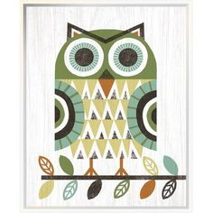 "East Urban Home 'Folk Lodge Owl Earth' Graphic Art Print Format: Wrapped Canvas, Matte Color: No Matte, Size: 24"" H x 20"" W"