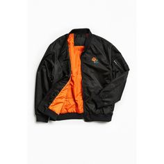 Chinatown Market Bomber Jacket ($129) ❤ liked on Polyvore featuring men's fashion, men's clothing, men's outerwear, men's jackets, mens collared jacket, mens bomber jacket, mens fur collar bomber jacket, mens nylon bomber jacket and mens nylon jacket