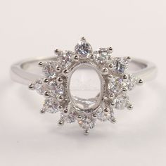 925 Sterling Silver Semi Mount Engagement CZ Ring 5x7mm Oval Setting CHOOSE SIZE #Unbranded
