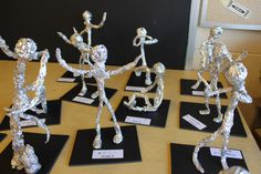 Alberto Giacometti - 4th grade lesson - Used pipe cleaners (the BIG ones) wrapped in aluminum foil and hot glued on a mat board base.