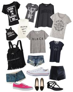 Cap sleeve tee, $115 / T shirt, $46 / Jack Wills crew neck t shirt / Muscle print t shirt / Monki , $20 / Old Navy crew neck t shirt / Bright shirt / Jack Wills short shorts / H jean shorts, $31 / Hot shorts / Witchery jeweled shoes, $155 / Vans sneaker / Steve Madden thong sandals / Converse white shoes, $59 / Victoria's Secret drawstring backpack