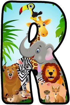 Letras infantiles Letras B abies, Fancy letters and Deco Jungle, Jungle Party, Safari Party, Jungle Safari, Safari Theme Birthday, First Birthday Party Themes, Jungle Theme Classroom, Classroom Themes, Alfabeto Animal
