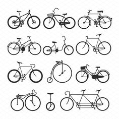 Vintage retro bicycle set and style antique sport old fashion grunge flat vector. Velo Retro, Velo Vintage, Retro Bicycle, Bicycle Art, Bicycle Design, Vintage Bicycles, Bicycle Types, Old Bicycle, Bicycle Tattoo