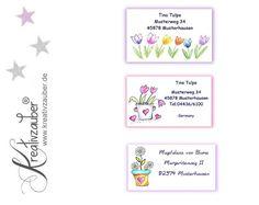 Adressaufkleber - 21 Adressaufkleber Frühlingsblumen - ein Designerstück von Kreativzauber bei DaWanda