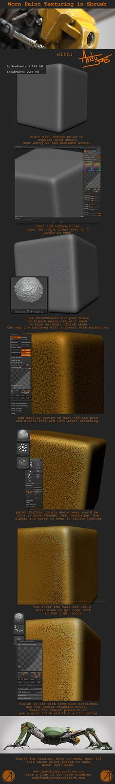 Ground Drone - Worn Paint Texturing tutorial in ZBrush