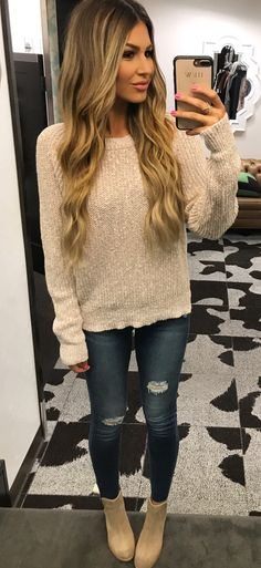 #summer #outfits  Beige Knit + Ripped Skinny Jeans