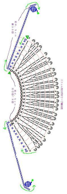 1/6ドール用かぎ針ケープ・編み図