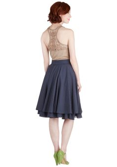 Essential Elegance Skirt in Navy Dots. An elegantly full skirt is the perfect accompaniment for a variety of ensembles, making this basic, but hardly boring, navy polka-dotted circle skirt a sartorial must-have. #blue #modcloth --ModClassic