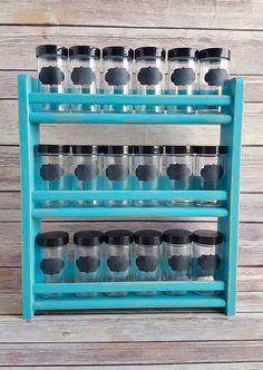 Turquoise Wood Spice Rack with 18 Jars Farmhouse Primitive Kitchen Organisation, Spice Organization, Diy Kitchen Storage, Kitchen Decor, Kitchen Items, Caulk Paint, Wood Spice Rack, Spice Containers, Spice Storage