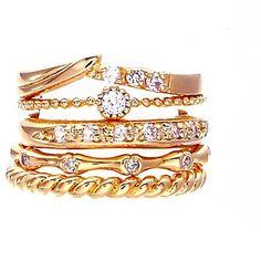5PCS Estilo Europeo Ajustes del anillo del círculo del oro circón de moda          – USD $ 4.99