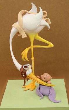 Cupcakes decoration for baby shower decorating supplies 26 ideas for 2019 Gravity Defying Cake, Gravity Cake, Fondant Figures, Stork Cake, Cake Topper Tutorial, Fondant Animals, Shower Bebe, Gateaux Cake, Cake Decorating Supplies