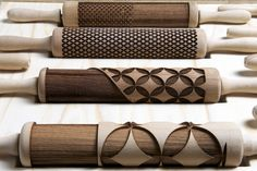 Laser cut rolling pins creating geometric shapes