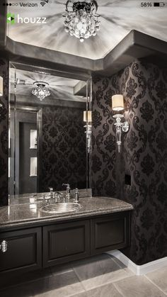 SJC Dramatic Remodel - contemporary - Powder Room - Orange County - Orange Coast Interior Design Source by wacey_foster Gothic Interior, Gothic Home Decor, Gothic Bathroom Decor, Luxury Interior, Decoration Baroque, Ideas Baños, Decor Ideas, Goth Home, Powder Room Design