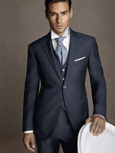 Navy Blue MenTuxedos Wedding Suits For Men Peaked Lapel Groomsmen Suits Slim Fit Formal Men Wedding Suits Jacket+Pants+Vest+Tie Online with $107.42/Piece on Parisimpression's Store | DHgate.com