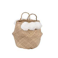 Pom Pom Seagrass Belly Basket | White  #toybasket #basket #child www.ilkahome.com | @ilkahome