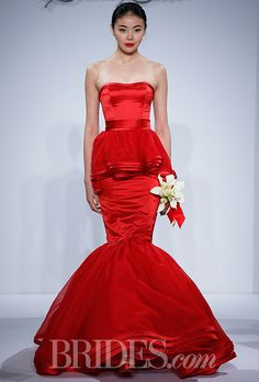 """Brides.com: 34 Colorful Wedding Dresses That Prove You Don't Have to Wear White. """"Jane"""" red strapless silk satin mermaid wedding dress with silk organza, satin trimmed peplum and tiered ruffle skirt, Dennis Basso for Kleinfeld  See wedding dresses from Dennis Basso for Kleinfeld's most recent bridal runway show."""