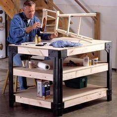 Work bench table shop garage tool kit shelves storage craftsman craftsman workbench with drawers Workbench Legs, Rolling Workbench, Workbench With Drawers, Workbench Table, Workbench Plans Diy, Building A Workbench, Garage Workbench, Workbench Height, Workbench Designs