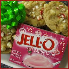 BEST Christmas Cookies Ever! Candy Cane (using pudding and a cake mix)!  i have never seen that pudding mix.. so looking forward to the season to find it!