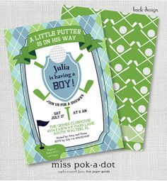 golf baby shower, sip and see or sprinkle invitation Golf Baby Showers, Baby Shower Cakes For Boys, Baby Shower Cookies, Baby Shower Fun, Shower Party, Sprinkle Invitations, Baby Shower Invitations, Hunting Baby, Sip And See