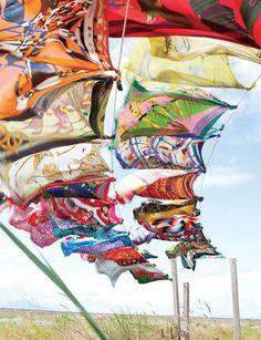 Hermes scarves blowing in the wind