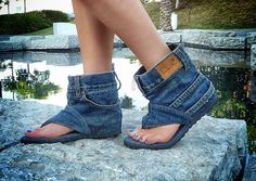 Denim Sandal Boots...seriously?  if i saw anyone wearing these i would punch them in the face.  jeans never look good after their life as pants, stop trying.  give them a second life by donating them to goodwill, not butchering them.  justify those bleeding childrens fingers in Malaysian sweatshops.