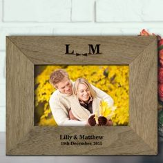 Engraved Rustic Photo Frame - Classic Bow Tie Design Photo 2