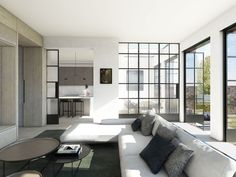 MWA Living Room CGI  |  Industrial, metal-framed glass screens opening onto 'the meadow'