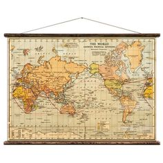 The World - Pull Down Wall Map by WeAreErstwhile on Etsy https://www.etsy.com/listing/161575637/the-world-pull-down-wall-map