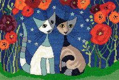 Featuring this romantic duo, this Poppy Nights cross stitch kit has been designed by Rosina Wachtmeister featuring her famous cats.