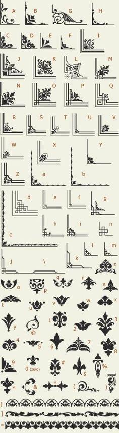 Letterhead Fonts / LHF Saratoga Ornaments / Ornaments and Dingbats by Mudgey