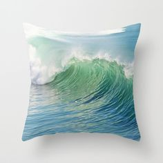 Ocean Throw Pillow Waves Pilow Outdoor Patio Decorative by MGMart