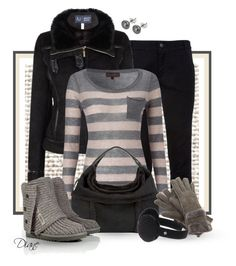 """UGG"" by diane-hansen ❤ liked on Polyvore featuring STELLA McCARTNEY, Armani Jeans, Great Plains, UGG Australia, Swarovski Crystallized, suedge aviator jacket, ugg boots, black jeans, wool blend knit sweater and ugg ear warmers"