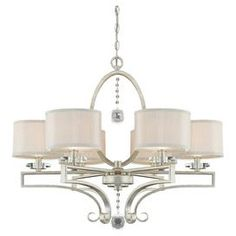 "Add a touch of glamour to your foyer or dining room with this elegant chandelier, featuring crystal accents and champagne fabric shades.   Product: ChandelierConstruction Material: Metal, fabric and crystalColor: Silver and champagneFeatures: Crystal accentsAccommodates: (6) 60 Watt bulbs - not includedDimensions: 25.5"" H x 30"" Diameter"