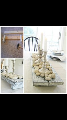 Happy At Home: DIY Rustic Farmhouse Centerpiece - cute with an old piece of barnwood and eggs Wooden Box Centerpiece, Dining Room Table Centerpieces, Table Decorations, Centerpiece Ideas, Dining Tables, Patio Table, Dining Rooms, Farm Tables, Simple Centerpieces