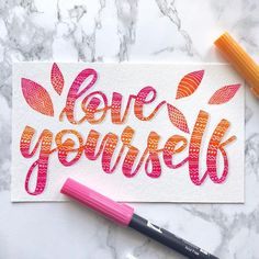 lettering love yourself Brush Lettering Quotes, Brush Pen Calligraphy, Calligraphy Doodles, Calligraphy Quotes, Watercolor Lettering, Hand Lettering Quotes, Doodle Lettering, Creative Lettering, Lettering Styles