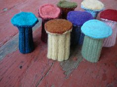 Custom Chair Socks Wool Floor Protectors by sewoiseau on Etsy Chair Leg Covers, Chair Socks, Knitting Patterns, Crochet Patterns, Striped Chair, Cute Furniture, Chair Leg Floor Protectors, Diy Chair, Crochet Projects