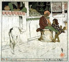 The Sacred Calf in the Bazaar at Agra  by Helen Hyde, 1910