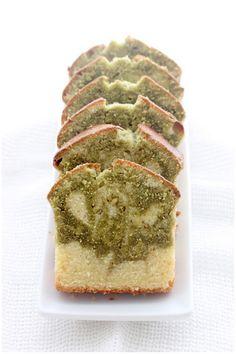 Matcha Vanilla Swirled Pound Cake
