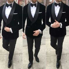 Males Black Velvet Double Breasted Go well with Groom Tuxedo Formal Marriage ceremony Go well with Customized - Best Suit's Black Tuxedo Wedding, Groom Tuxedo Wedding, Wedding Tuxedos, Groomsmen Tuxedos Black, Black Suit Groom, All Black Tuxedo, Grey Tuxedo, Formal Tuxedo, Bride Groom