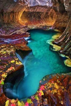 Aqua Pool in Zion National Park, Utah.  The red rock of Zion is so phenomenal, people come to see it from across the globe.  Such gorgeous nature.